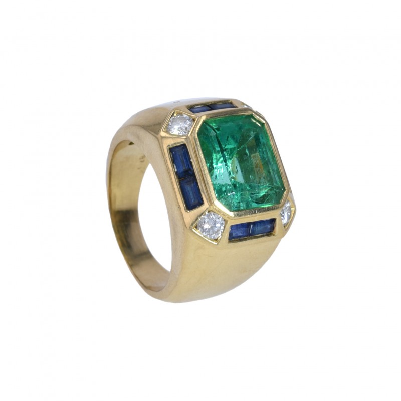 FoFo, die Juwelenbörse -  Ring   18 Karat Gelbgold   Smaragd ca. 7 ct.   Brillanten   Saphire