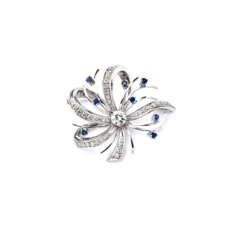 FoFo, die Juwelenbörse -  Brosche in Weißgold mit Diamanten und Saphiren