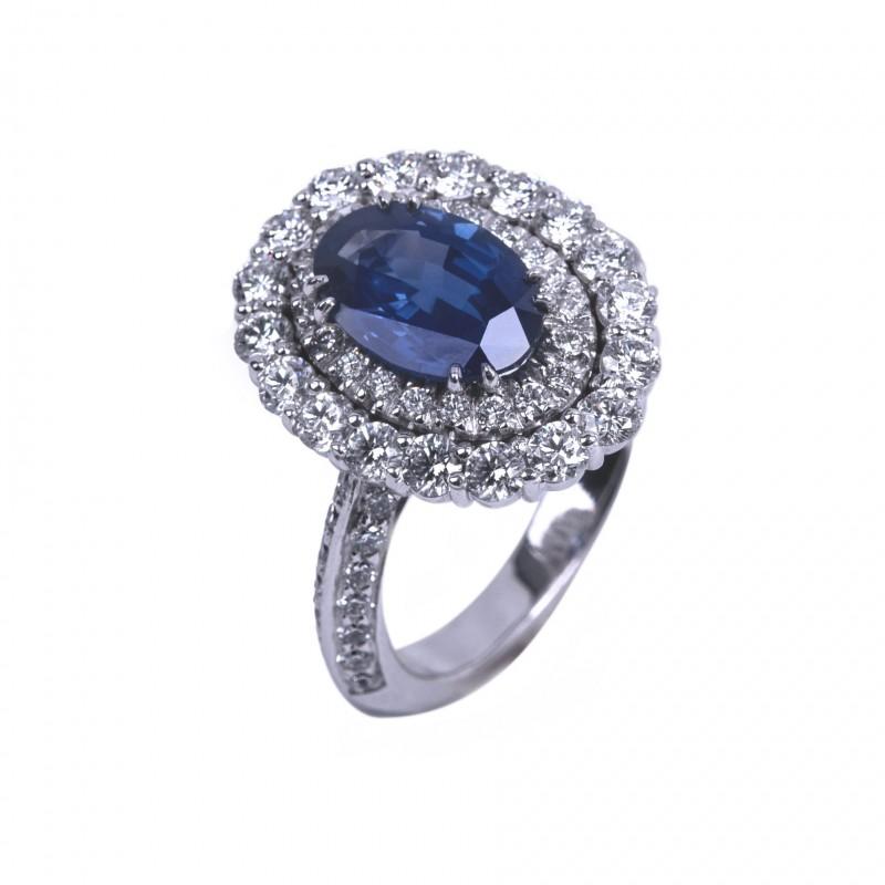 FoFo, die Juwelenbörse -  Unbehandelter Kashmir Saphir 2.60 ct. | Diamanten | 18 Karat Weißgold |Expertisen