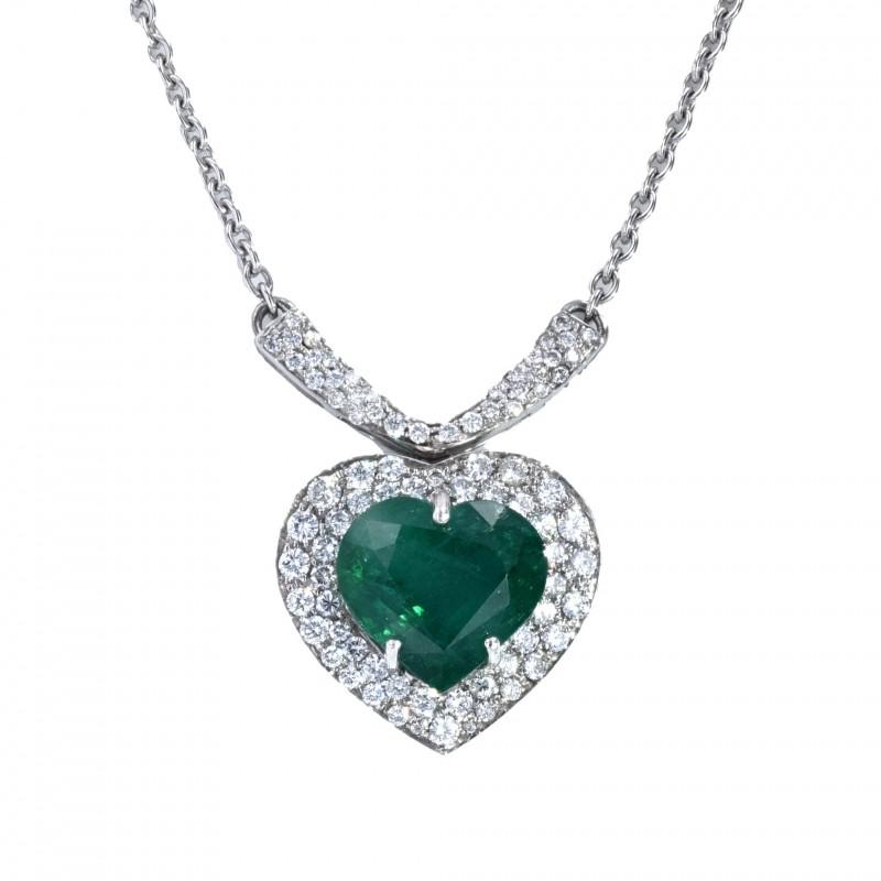 FoFo, die Juwelenbörse -  Collier | 18 Karat Weißgold |Smaragdherz ca. 6.79 ct. |Brillanten ca. 2.0 ct.