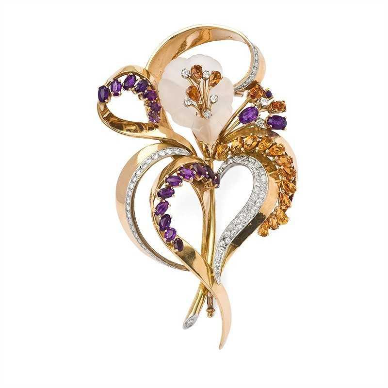 FoFo, die Juwelenbörse -  Florale Clipbrosche in Gelbgold und Weißgold Amethyste, Citrine, Brillanten, Bergkristall