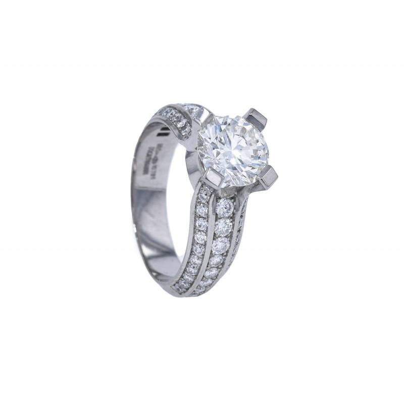 FoFo, die Juwelenbörse -  Brillantsolitärring von Fochtmann   950 Platin  Brillant 2.01 ct.   HRD Expertise