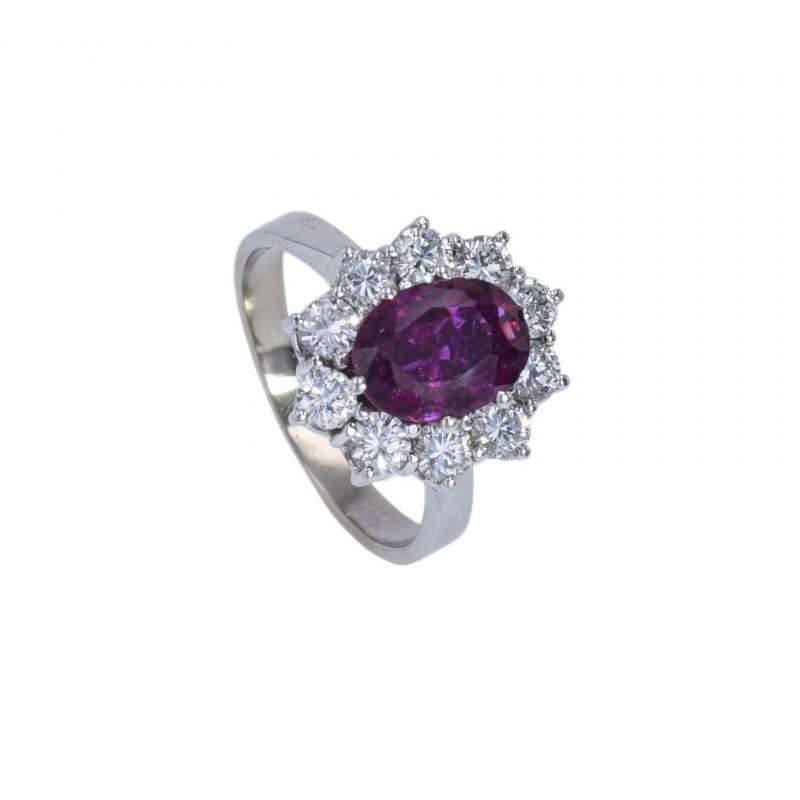 FoFo, die Juwelenbörse -  Ring |14 Karat Weißgold |Rubin ca. 2.50 ct. | 10 Brillanten ca. 0.70 ct.