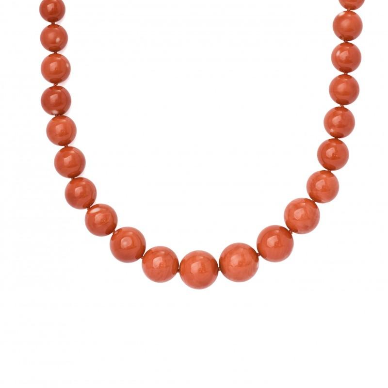FoFo, die Juwelenbörse -  Korallenkugelkette  41 Kugeln  Durchmesser: ca. 9,7 mm bis 15,2 mm
