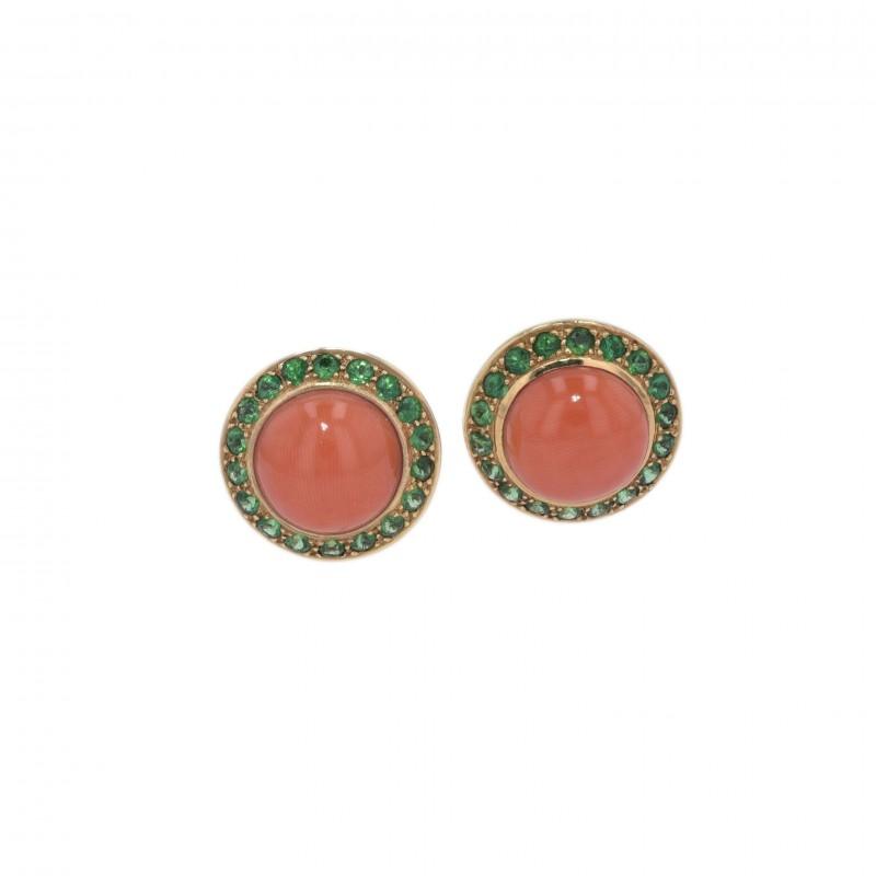 FoFo, die Juwelenbörse -  Ohrclips |18 Karat Gelbgold | Korallcabochons | Tsavorithe ca. 1.8 ct.