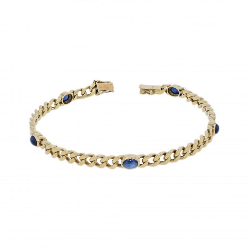 """FoFo, die Juwelenbörse -  Flachpanzerarmband von """"Leicht""""  18 Karat Gelbgold   5 Saphire ca. 5 ct."""