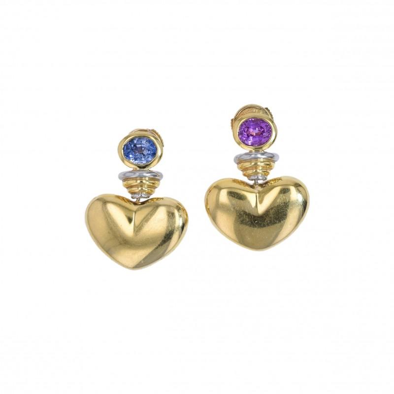 FoFo, die Juwelenbörse -  Herz-Ohrstecker von Sévigné |18 Karat Glelbgold und Platin | Saphire ca. 1.8 ct.