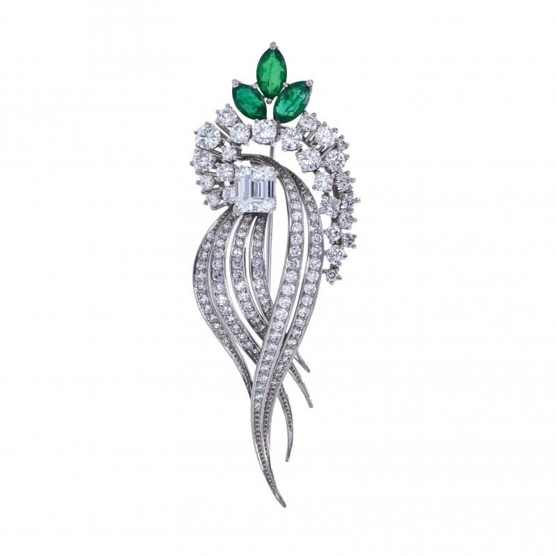 FoFo, die Juwelenbörse -  Brosche |18 Karat Weißgold |Smaragd ca. 1.10 ct. |Brillanten ca. 2.20 ct.