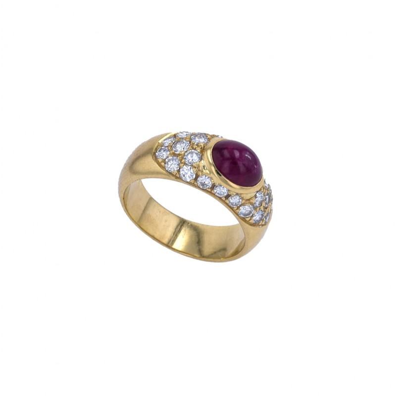 FoFo, die Juwelenbörse -  Ring  18 Karat Gelbgold  Rubin ca. 1.4 ct.  Diamanten ca. 0.9 ct.