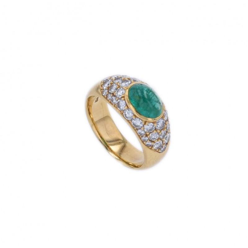 FoFo, die Juwelenbörse -  Ring   18 Karat Gelbgold  Smaragd ca. 1.0 ct.  Diamanten ca. 0.9 ct.