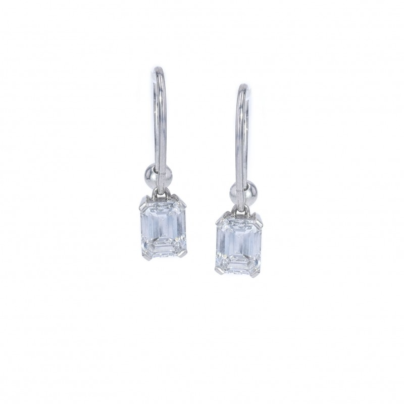 FoFo, die Juwelenbörse -  Bucherer-Ohrhänger   18 Karat Weißgold   Diamant 1.22 ct   Diamant 1.27 ct   DPL Expertise