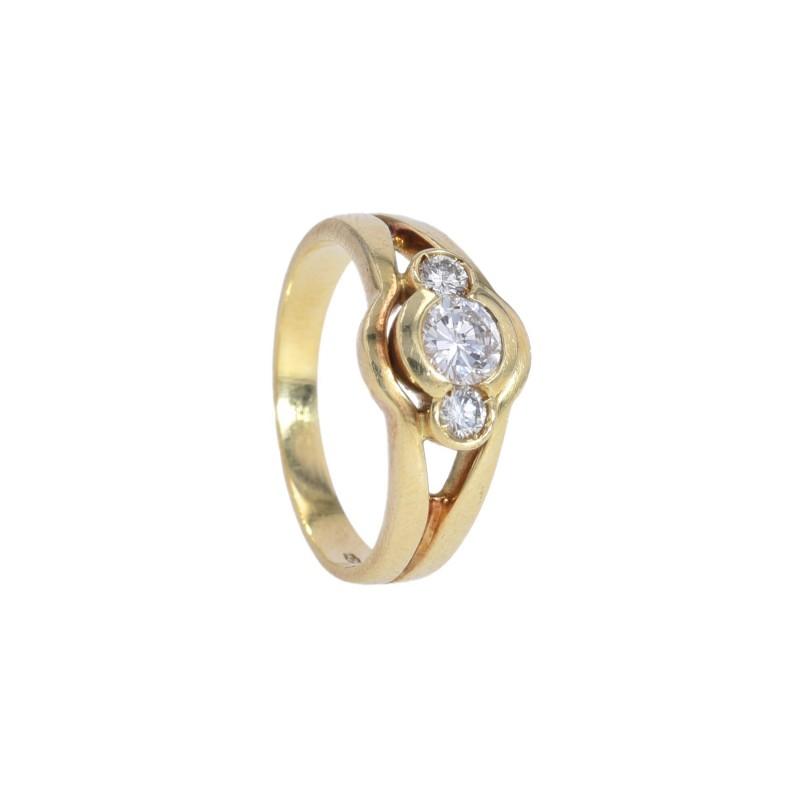 FoFo, die Juwelenbörse -  Ring | 18 Karat Gelbgold | Diamant ca. 0.3 ct. |Diamanten ca. 0.10 ct.