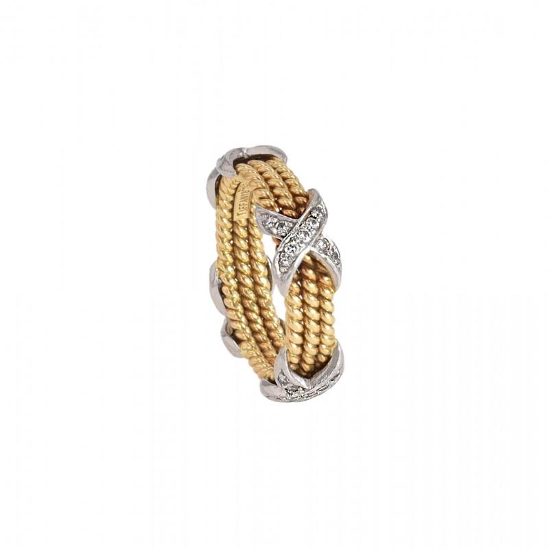 FoFo, die Juwelenbörse -  Kreuzring von Tiffany and Co. | 18 Karat Gelbgold und Platin | Brillanten ca. 0.28 ct.