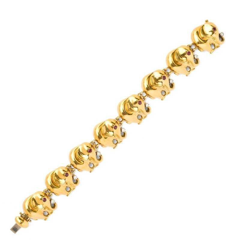 "FoFo, die Juwelenbörse -  Armband ""Elefanten"" in Gelbgold, Brillanten, Rubine"