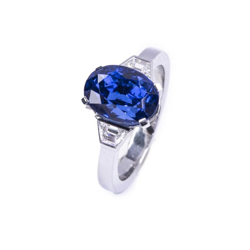 FoFo, die Juwelenbörse -  Ring   950 Platin  Saphir (Herkunft: Burma, nicht erhitzt) 6.07 ct.