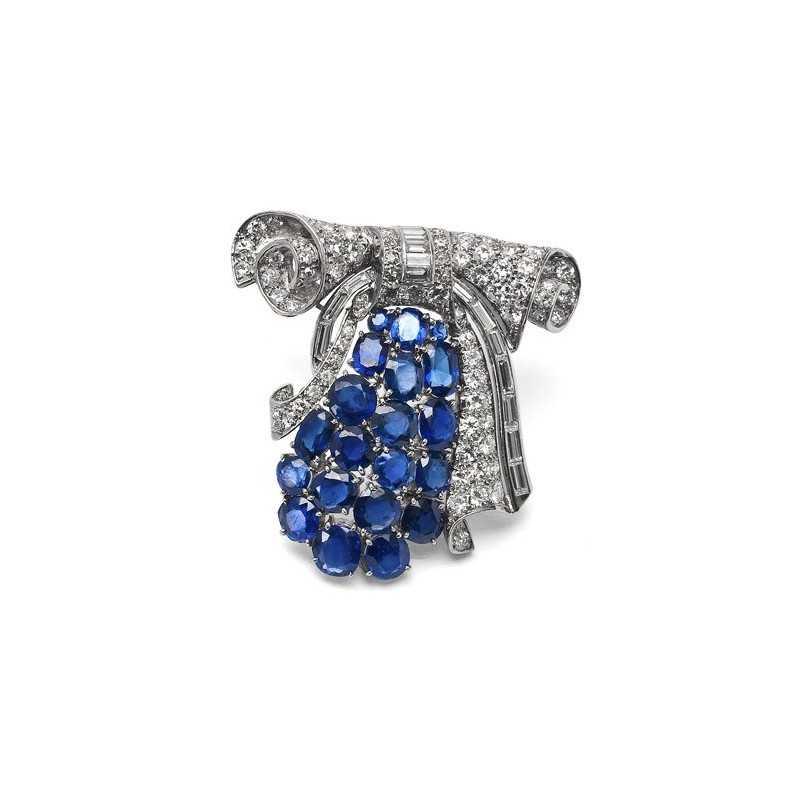 FoFo, die Juwelenbörse -  Brosche in Platin, Saphire unbehandelt, Expertise Diamanten