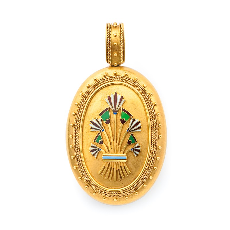 """FoFo, die Juwelenbörse -  Medaillon """"Egyptian Revival"""" in Gelbgold, Emaille"""