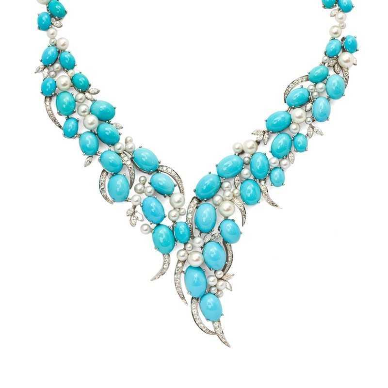 FoFo, die Juwelenbörse -  Türkis Collier von René Kern in Weißgold, Diamanten, Zuchtperlen