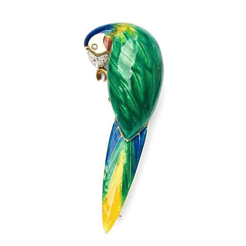 FoFo, die Juwelenbörse -  Brosche Papagei in Gelbgold mit buntem Emaille, Diamanten