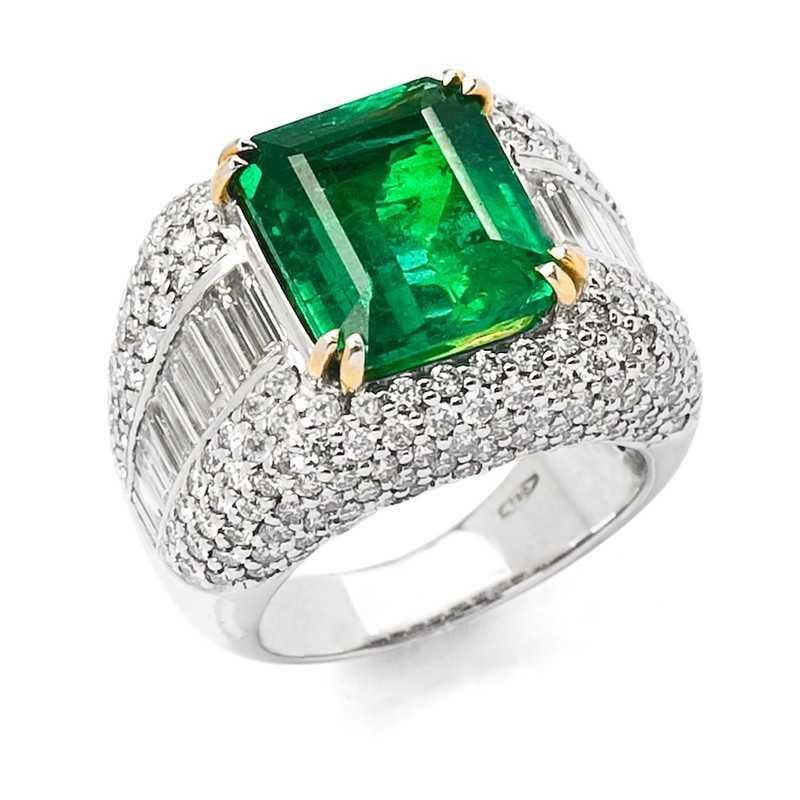 FoFo, die Juwelenbörse -  Ring in Weißgold und Gelbgold, Smaragd im Emerald Cut 6,62 ct. , Diamanten