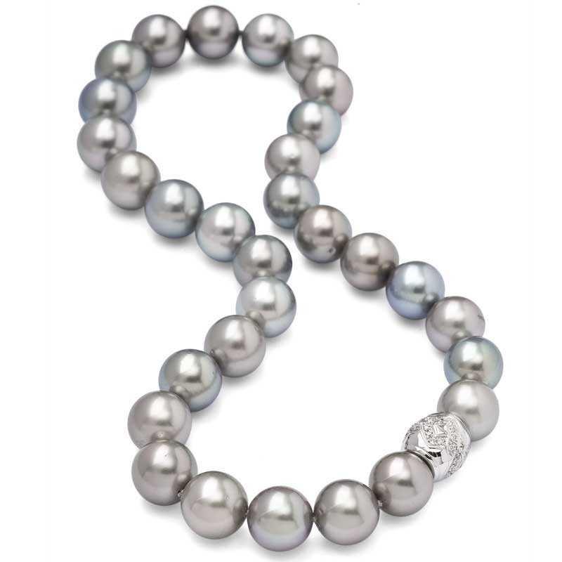 FoFo, die Juwelenbörse -  Tahiti Zucht Perlenkette | 18 Karat Weißgold | 30 Perlen (12-13,5 mm)