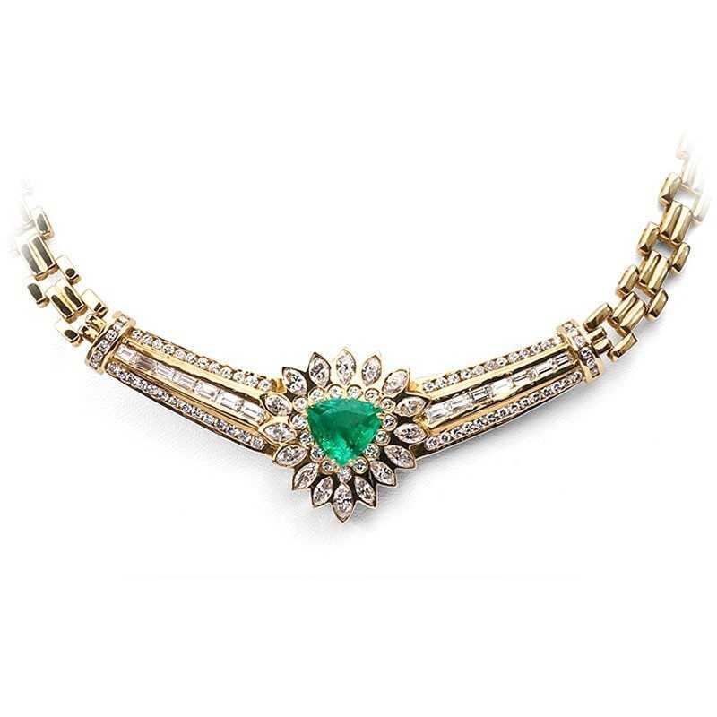 FoFo, die Juwelenbörse -  Collier in Gelbgold, Smaragd (DSEF Expertise), Diamanten